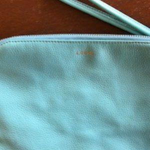 LODIS Zipper Blue Pebble Leather Clutch/Wristlet